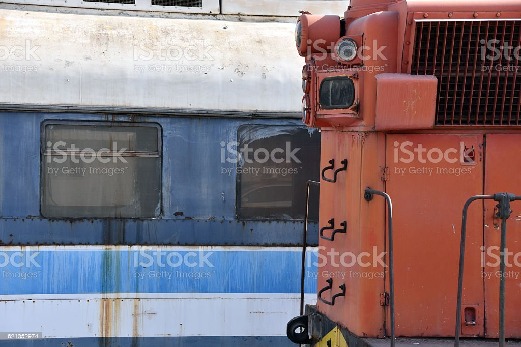 Background of old disabled trains stock photo