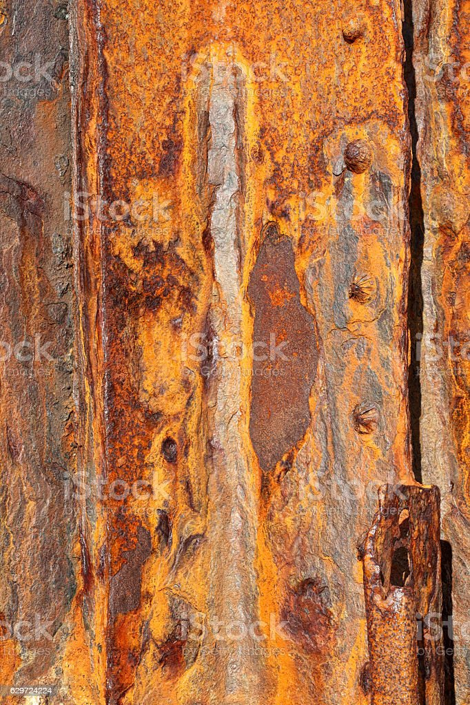 Background of old iron panels covered in rust stock photo