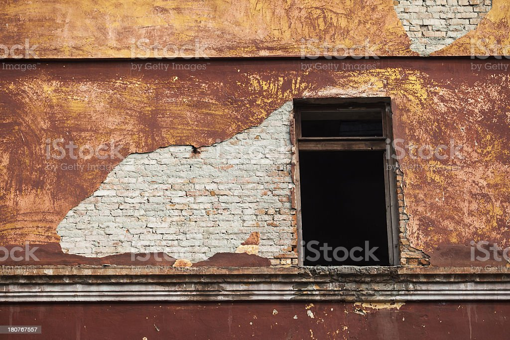 Background of old wall with a window. royalty-free stock photo