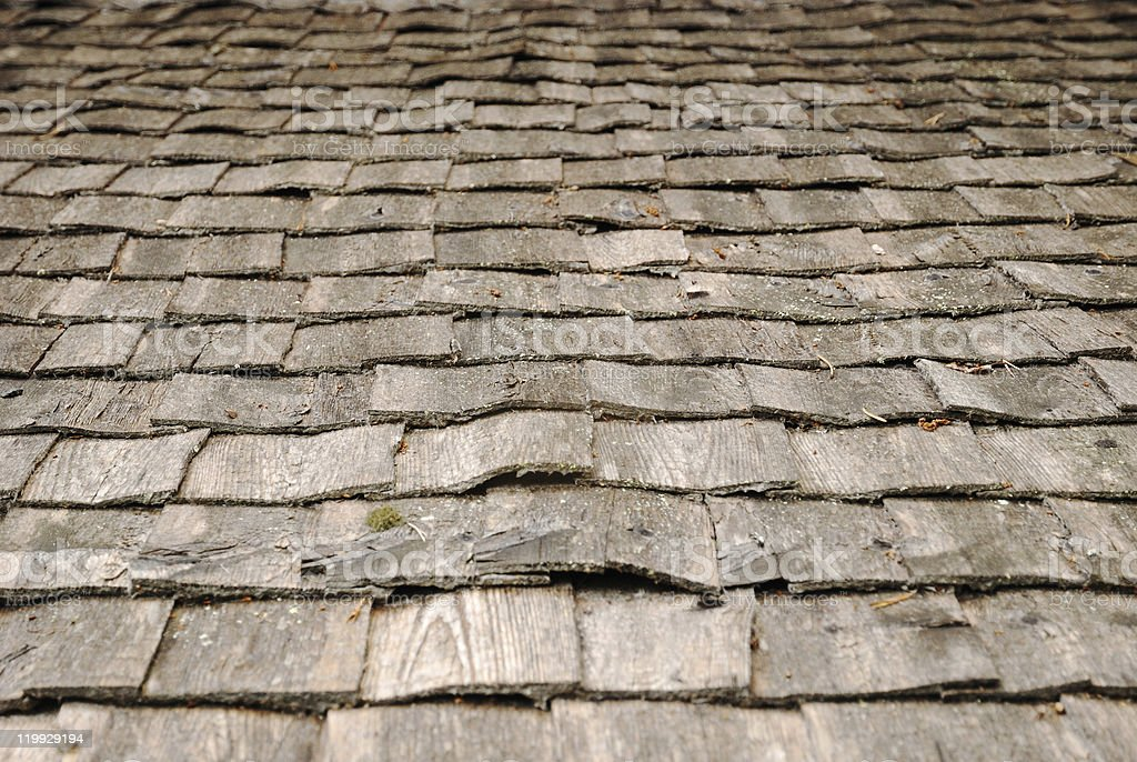 Background of old wood roof stock photo
