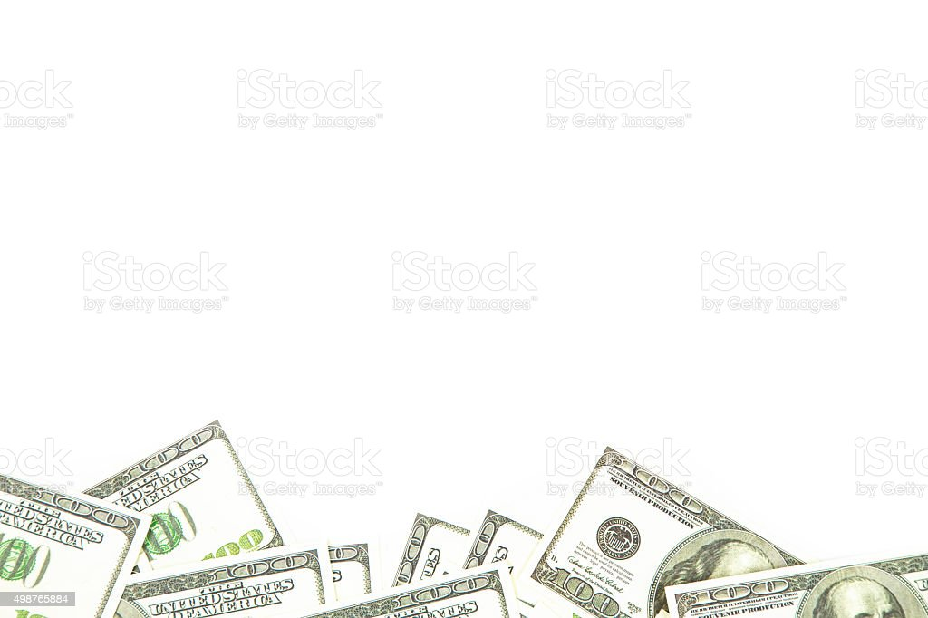 Background of one hundred dollars bills on bottom stock photo