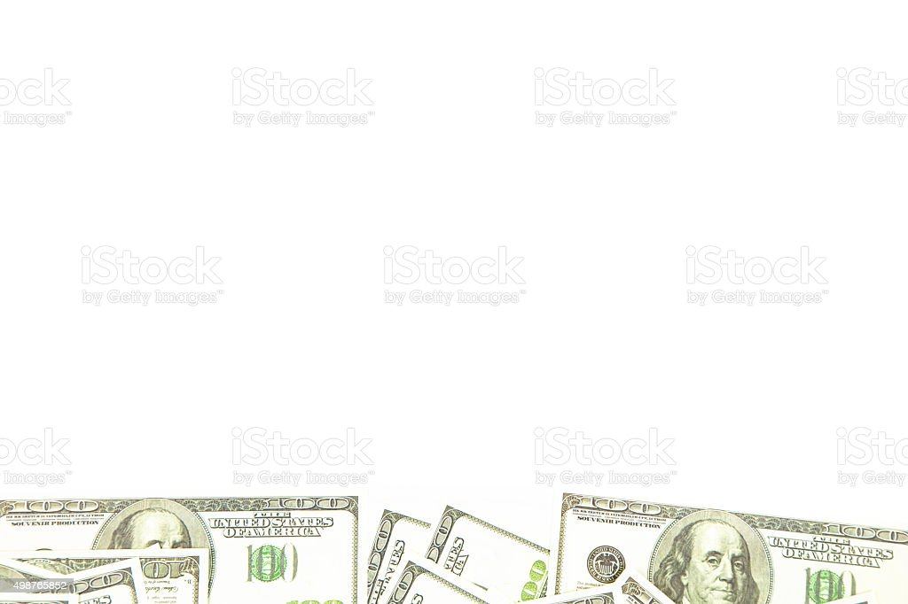 Background of one hundred dollars on bottom stock photo