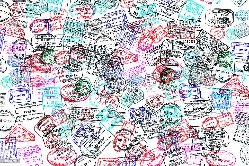 Background of passport stamps on white stock photo
