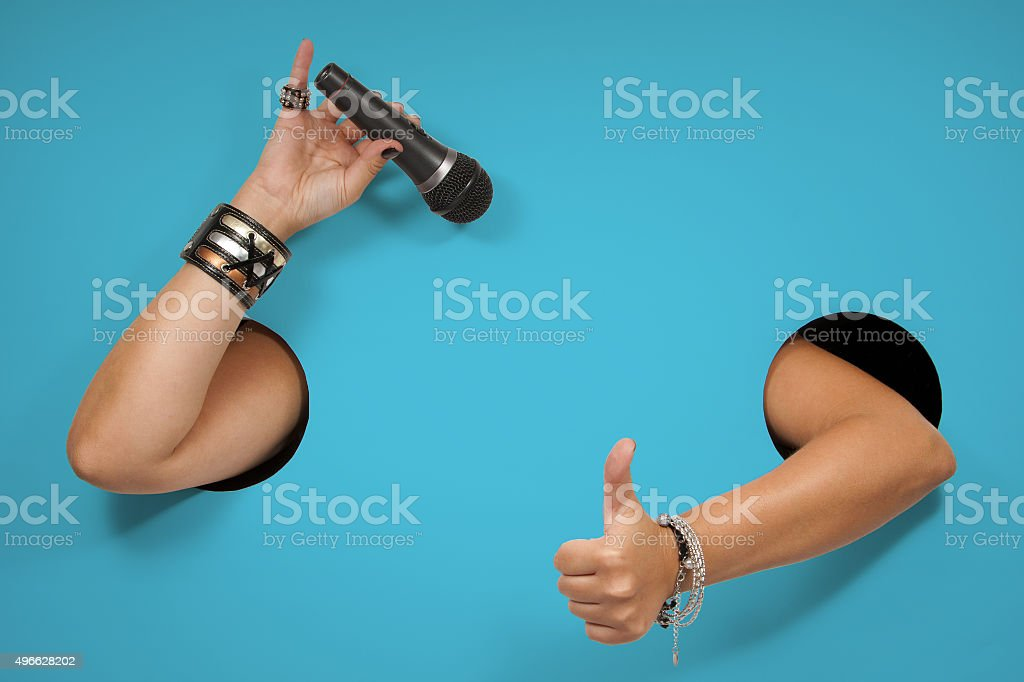 "Background of poster on the topic ""singing, compere, karaoke "" stock photo"