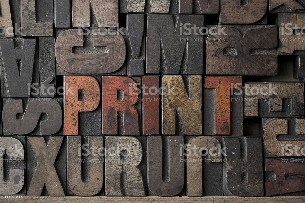 Background of print and other words stock photo