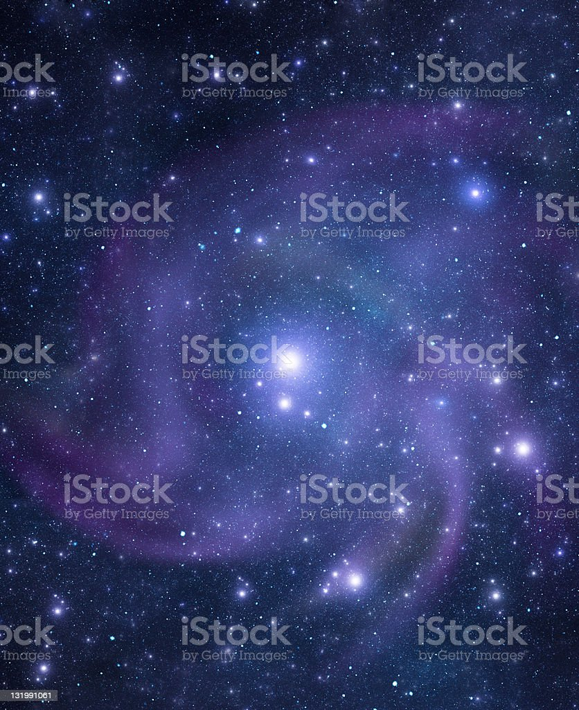 A background of purple hued spiral galaxy with bright stars stock photo