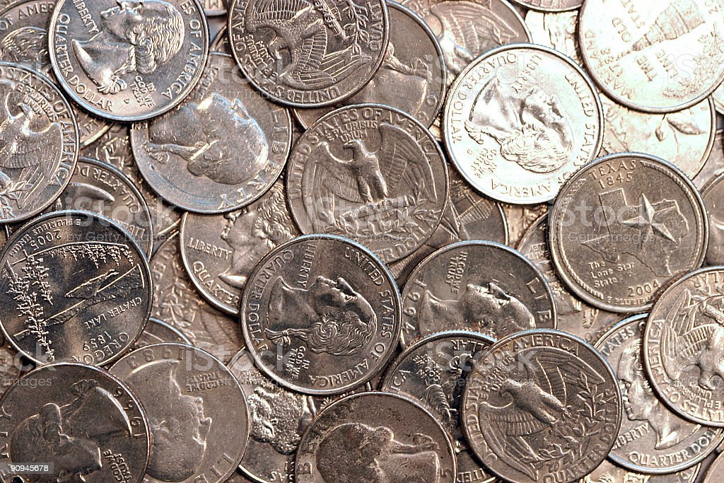Background of Quarters royalty-free stock photo