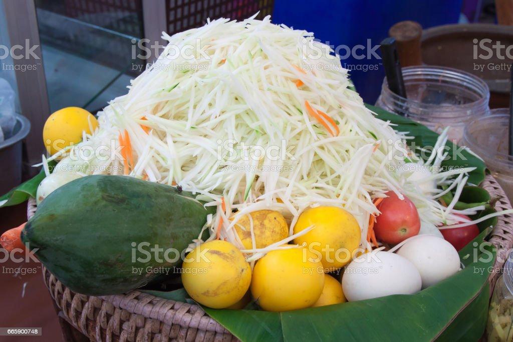 Background of raw food for make papaya salad somtam stock photo