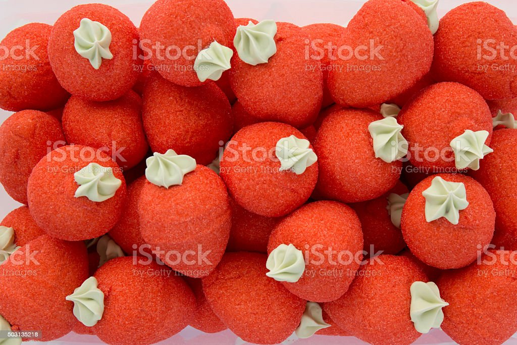 Background of red strawberries candies stock photo