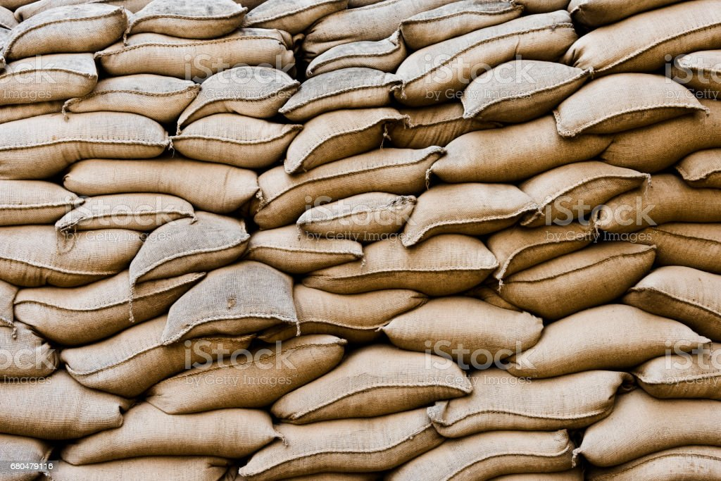 Background of sandbags stock photo