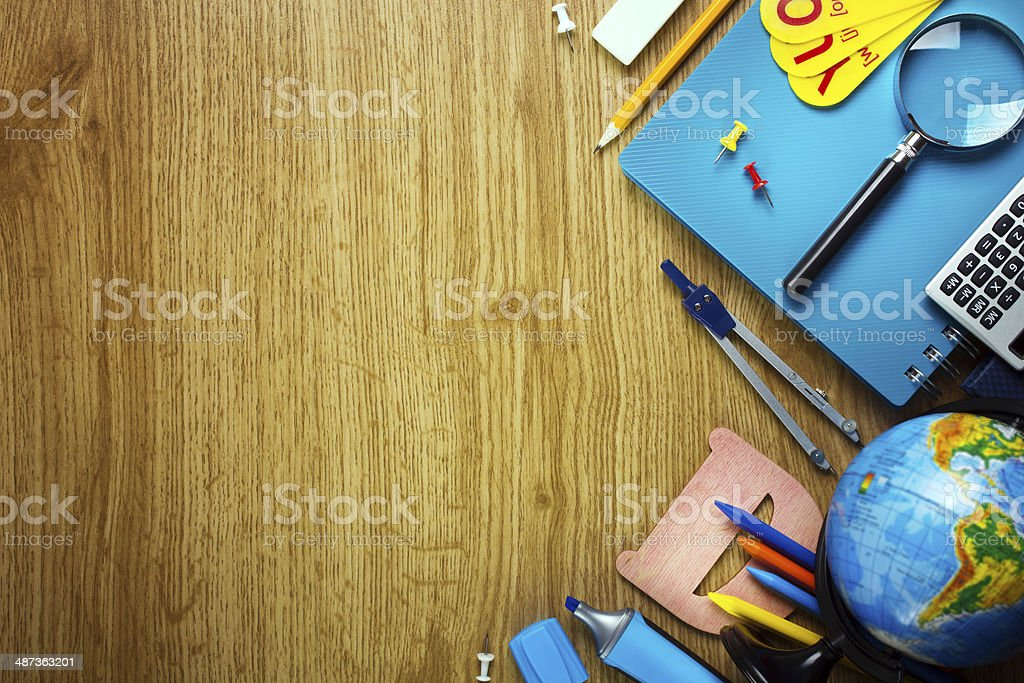 Background of school supplies stock photo