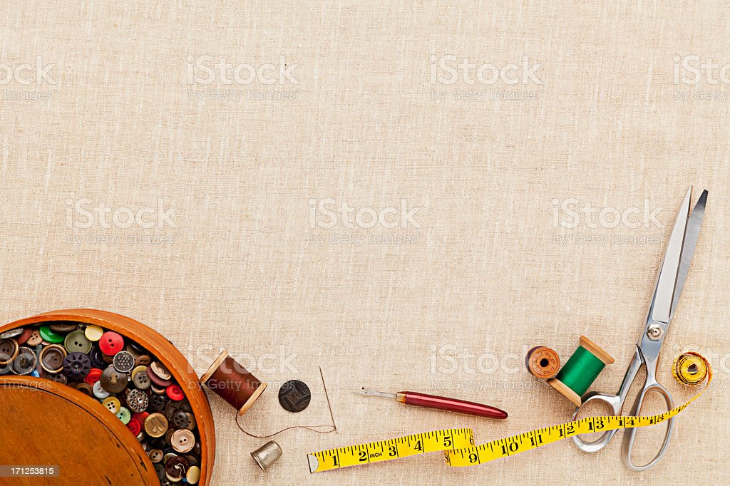Background of Sewing Items. Full Frame, Copyspace. stock photo