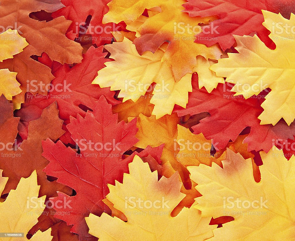 background of silk colorful autumn leaves stock photo