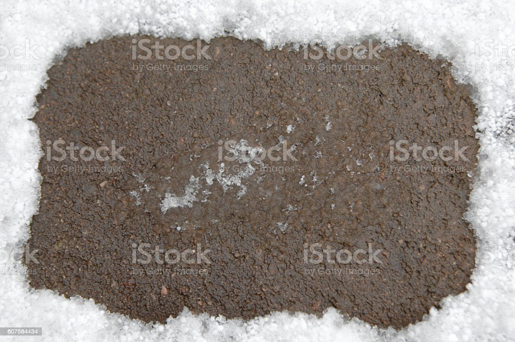 Background of Snow with Pavement stock photo