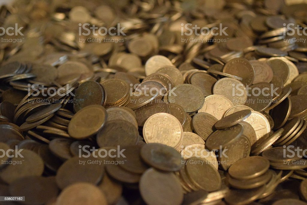 Background of Spanish peseta coins stock photo