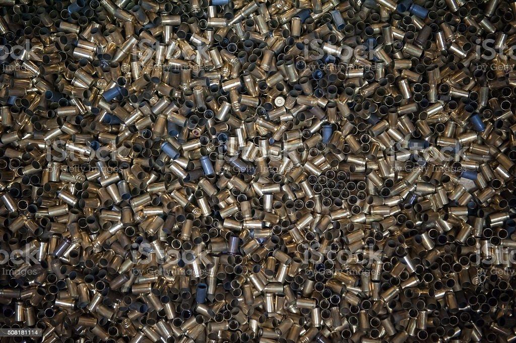 Background of spent cartridges. stock photo