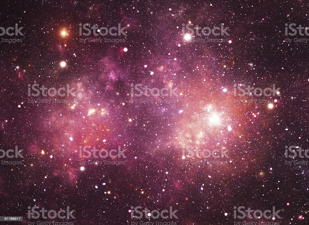Background of stars in space with red glow royalty-free stock photo