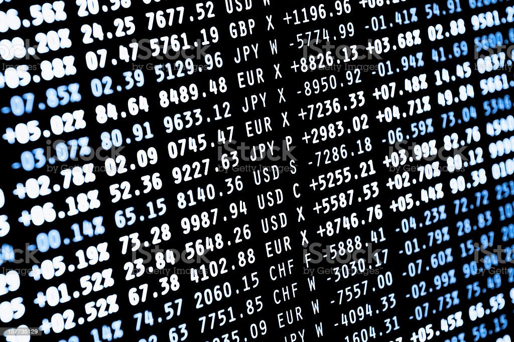 Background of stock-market currency figures stock photo