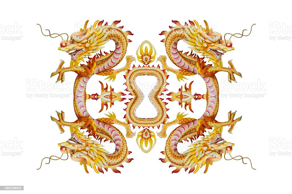 Background of Stucco four headed Dragon royalty-free stock photo