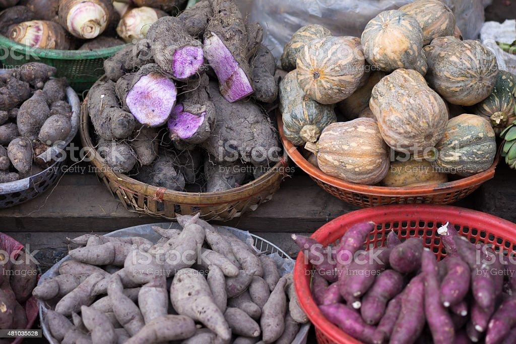 Background of sweet potato, potato, ginger, onion stock photo