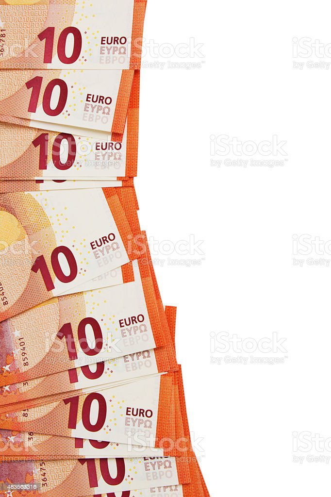Background of ten euros notes laid in the corner stock photo