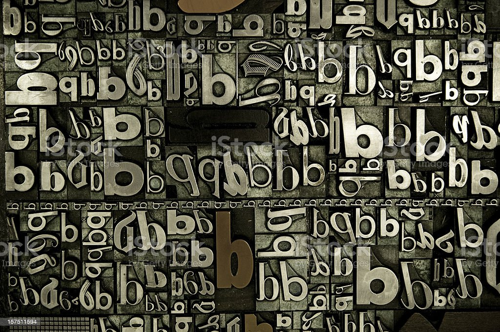 A background of the letter b in many fonts and directions. royalty-free stock photo