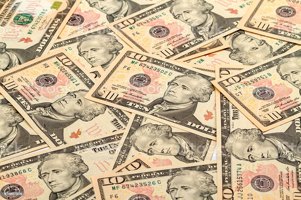 Background of the new banknotes ten dollars stock photo