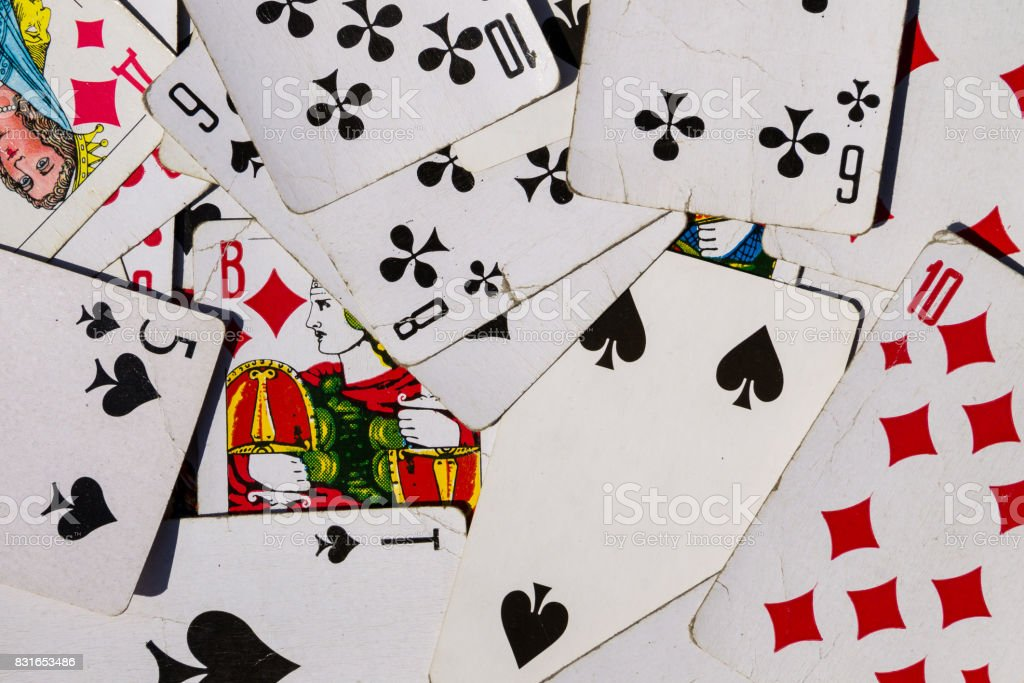 Background of the old playing cards stock photo