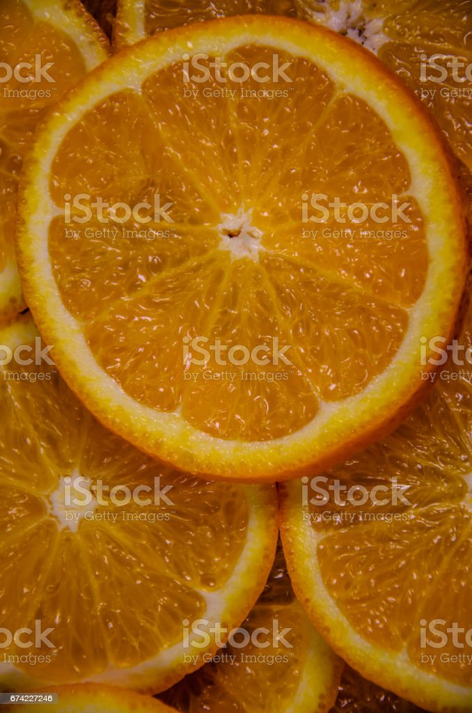 Background of the orange slices. Top view stock photo