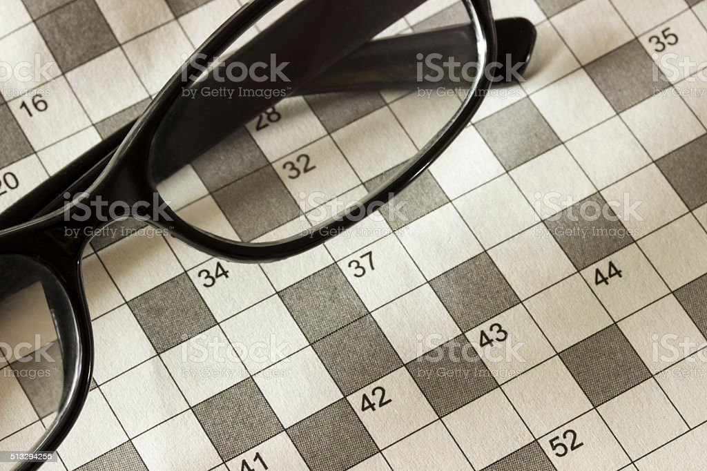 Background of the pages of the magazine with the crossword stock photo