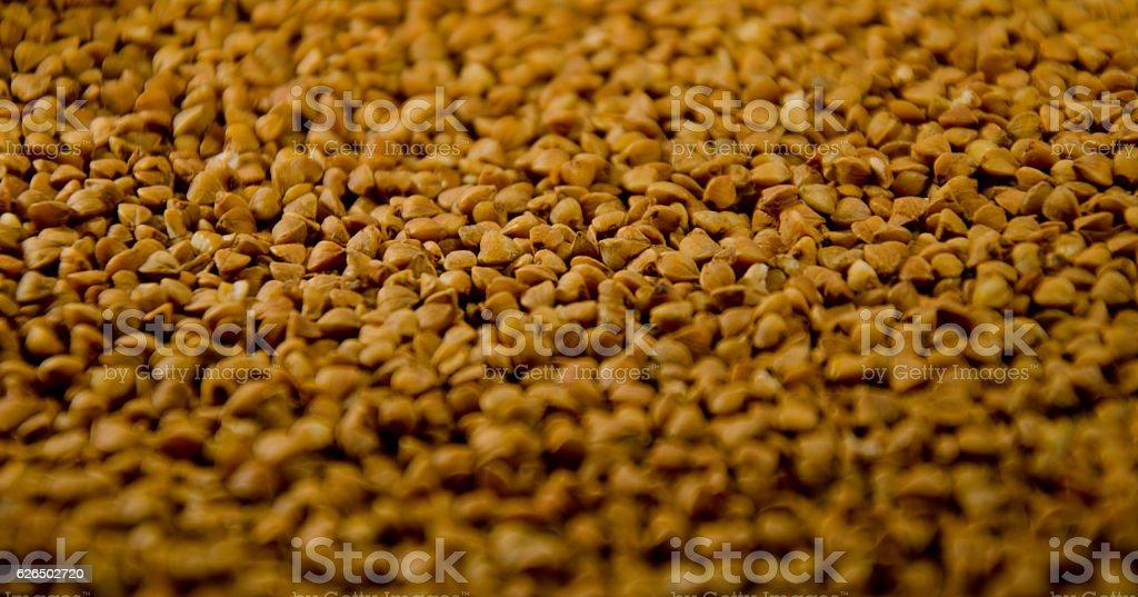 Background of the raw buckwheat. Vegan food stock photo