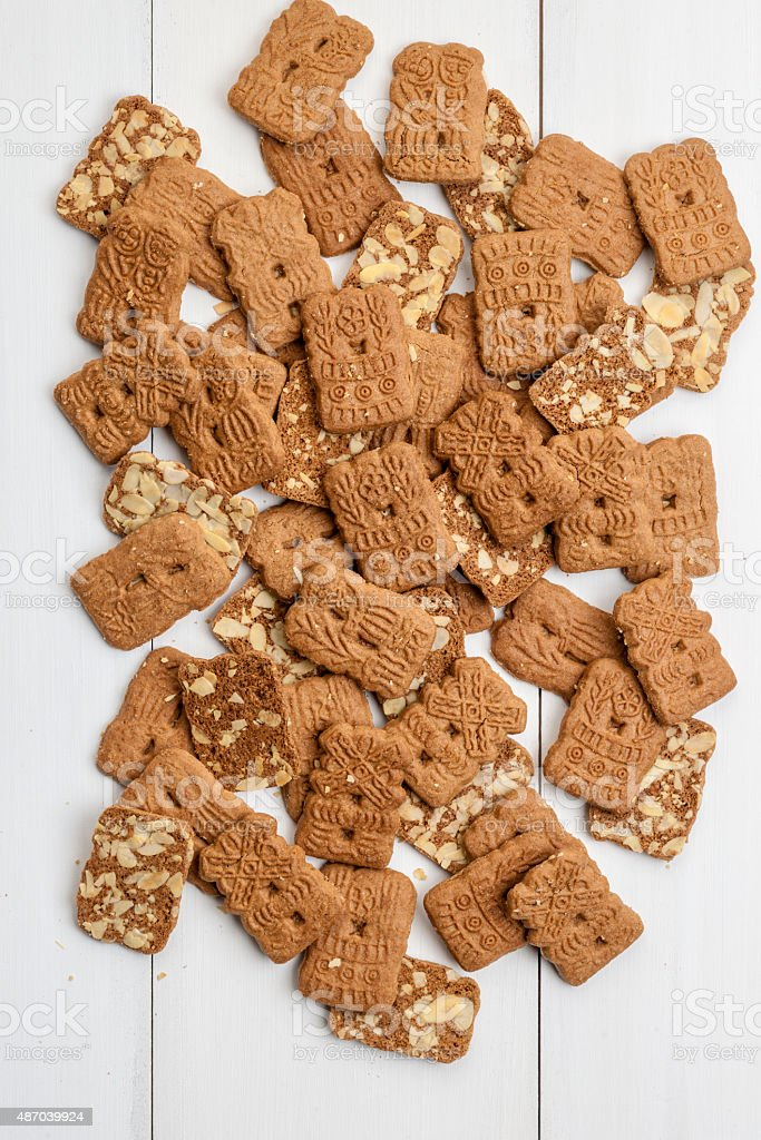 background of traditional dutch pastry speculaas stock photo