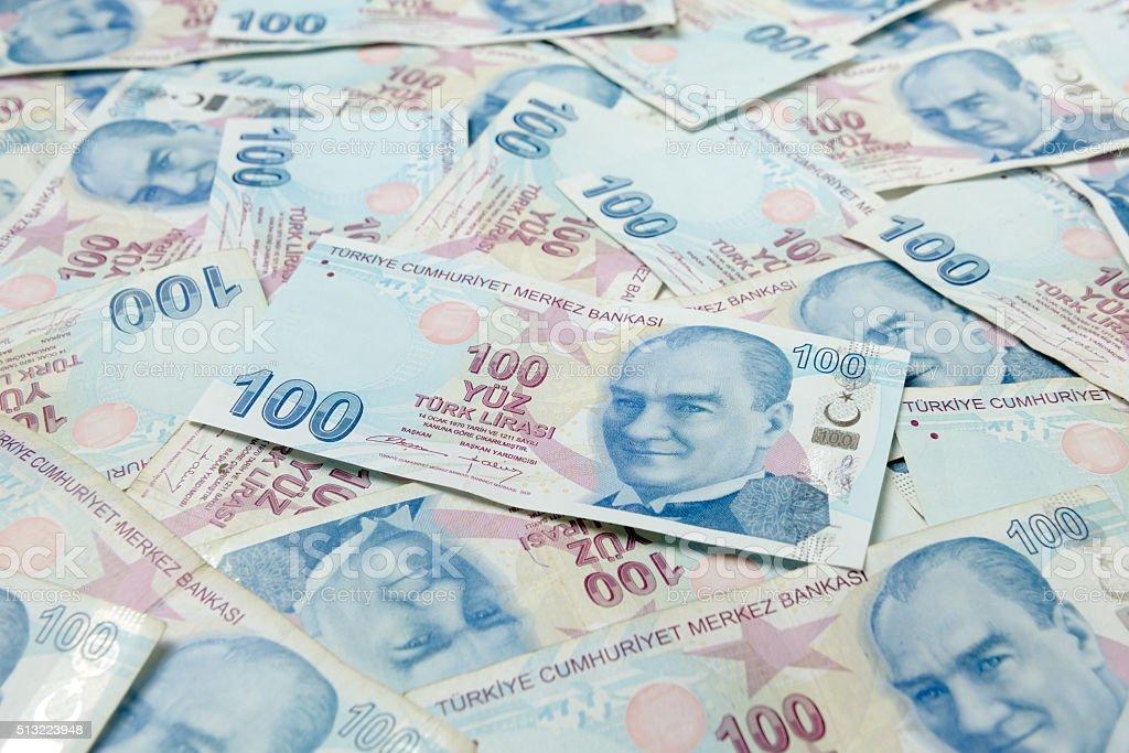Background of Turkish Lira banknotes. stock photo