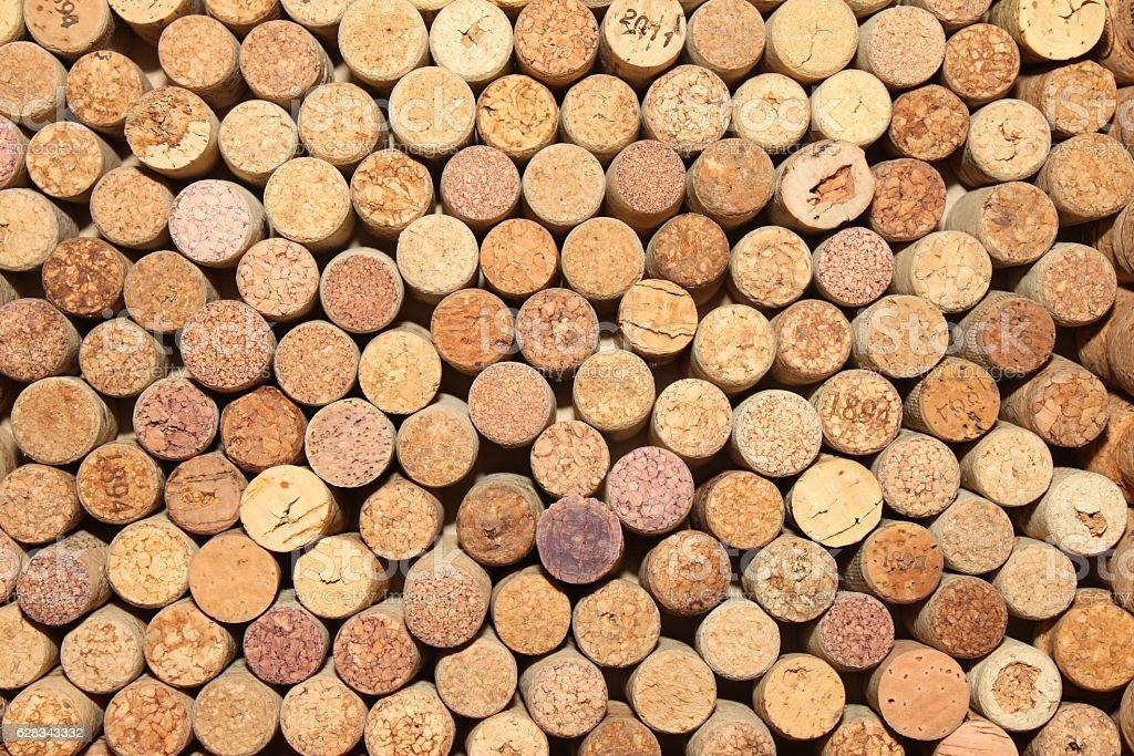 Background of used wine corks stock photo