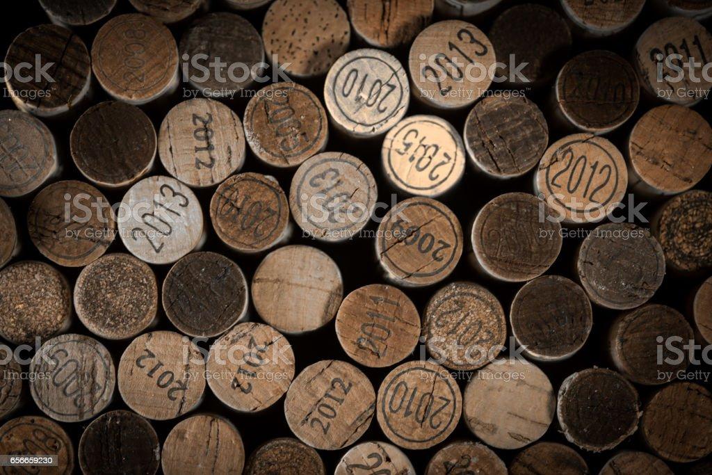 Background of used wine corks. stock photo