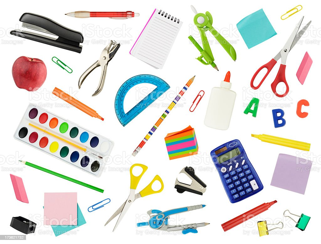 Background of various back to school materials royalty-free stock photo