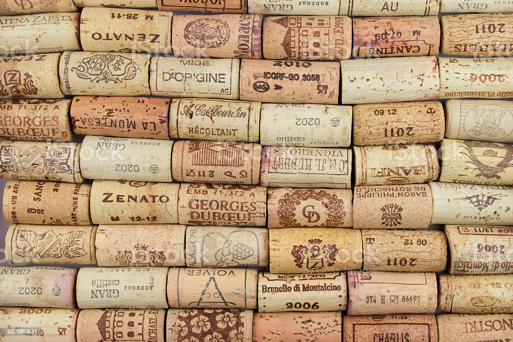 Background of Various Used Wine Corks close up stock photo