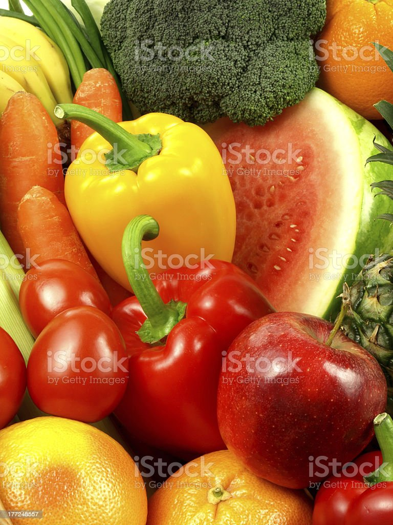 Background of vegetables and fruits royalty-free stock photo
