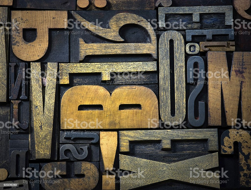 Background of vintage wooden letters royalty-free stock photo