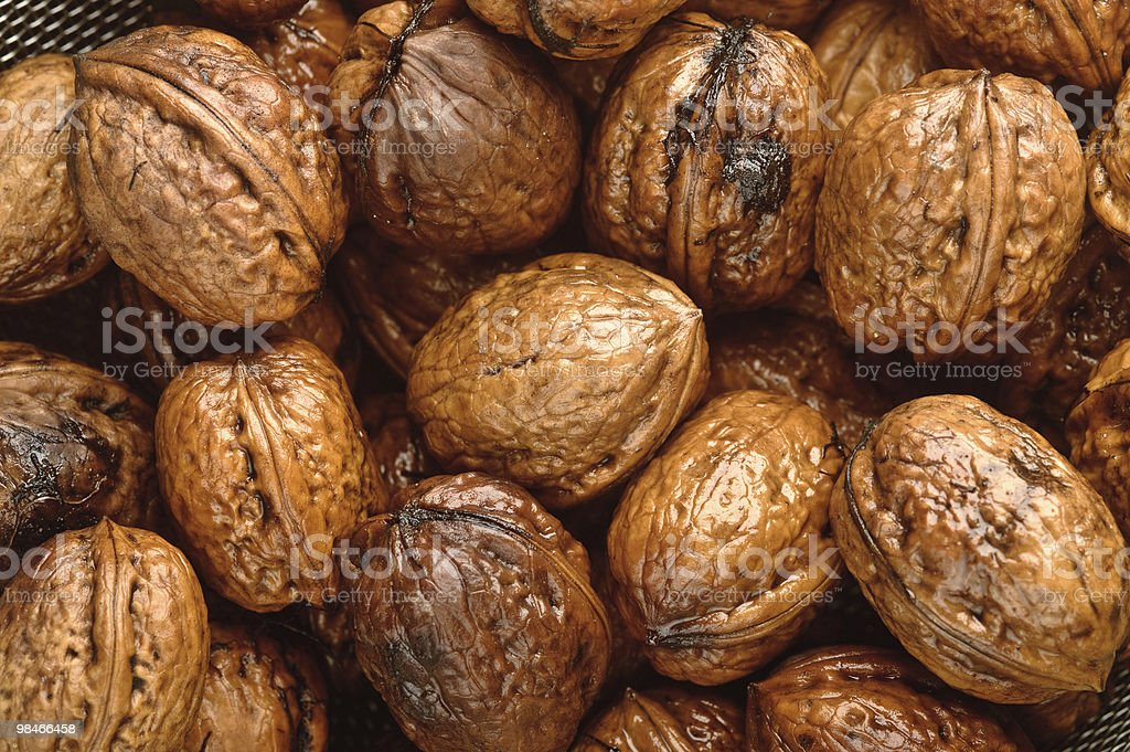 background of wet walnuts royalty-free stock photo
