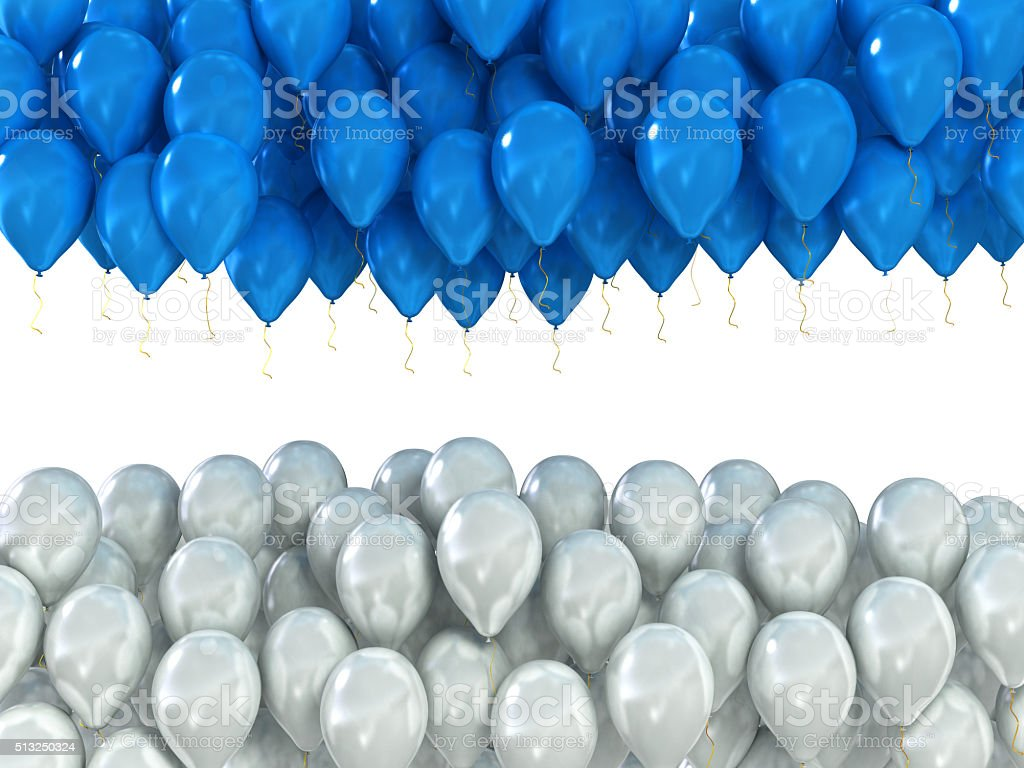 background of white and blue celebratory balloons isolated on wh stock photo