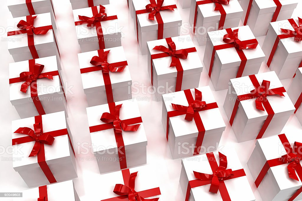 Background of white giftboxes royalty-free stock photo