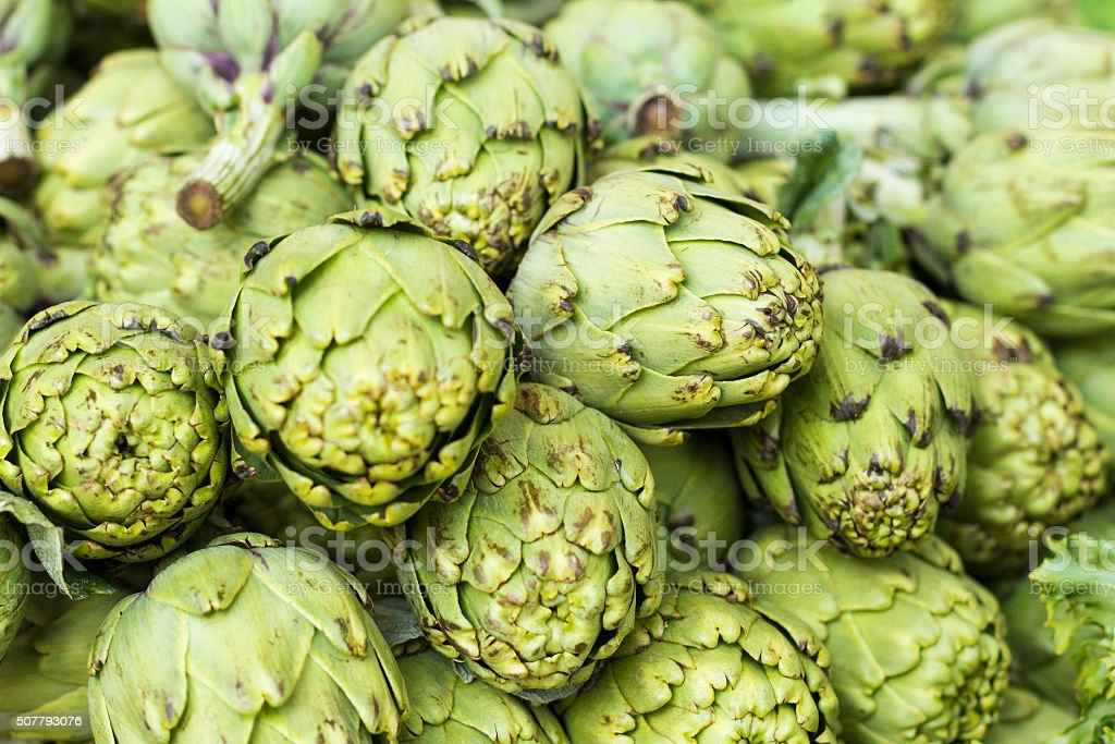 Background of whithered artichokes stock photo