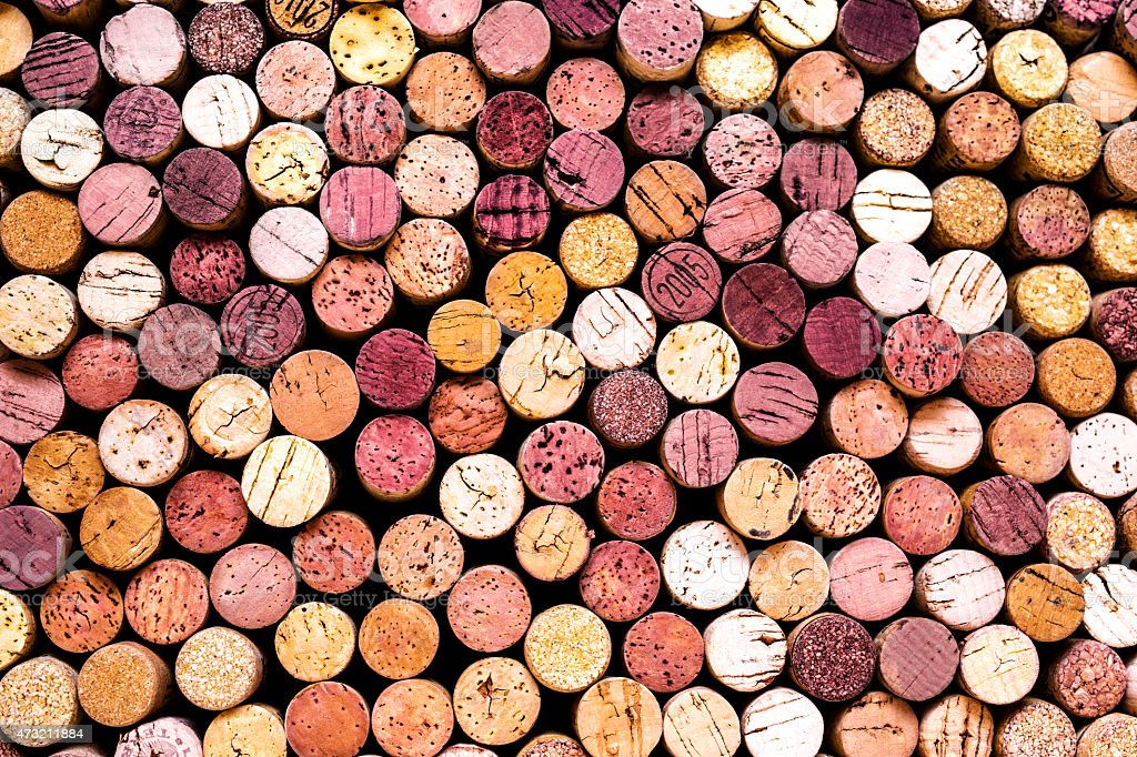 Background of wine corks in shades of white, red, and pink stock photo