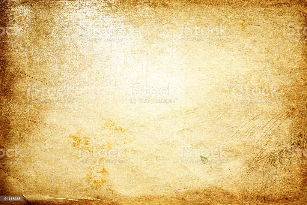 Background of yellowed aged paper stock photo