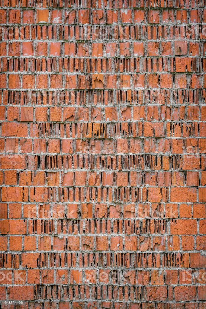 the background of the old wall of broken bricks. vintage grunge...