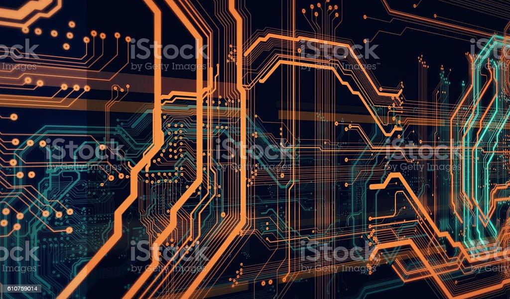 background  orange digital  integrated  network technology stock photo