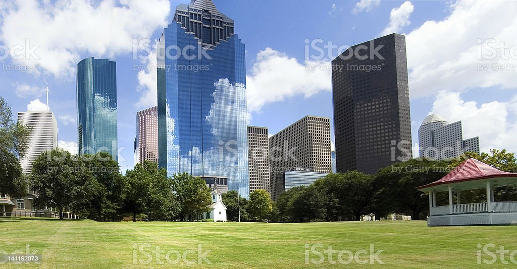 A background photo of a Houston downtown royalty-free stock photo