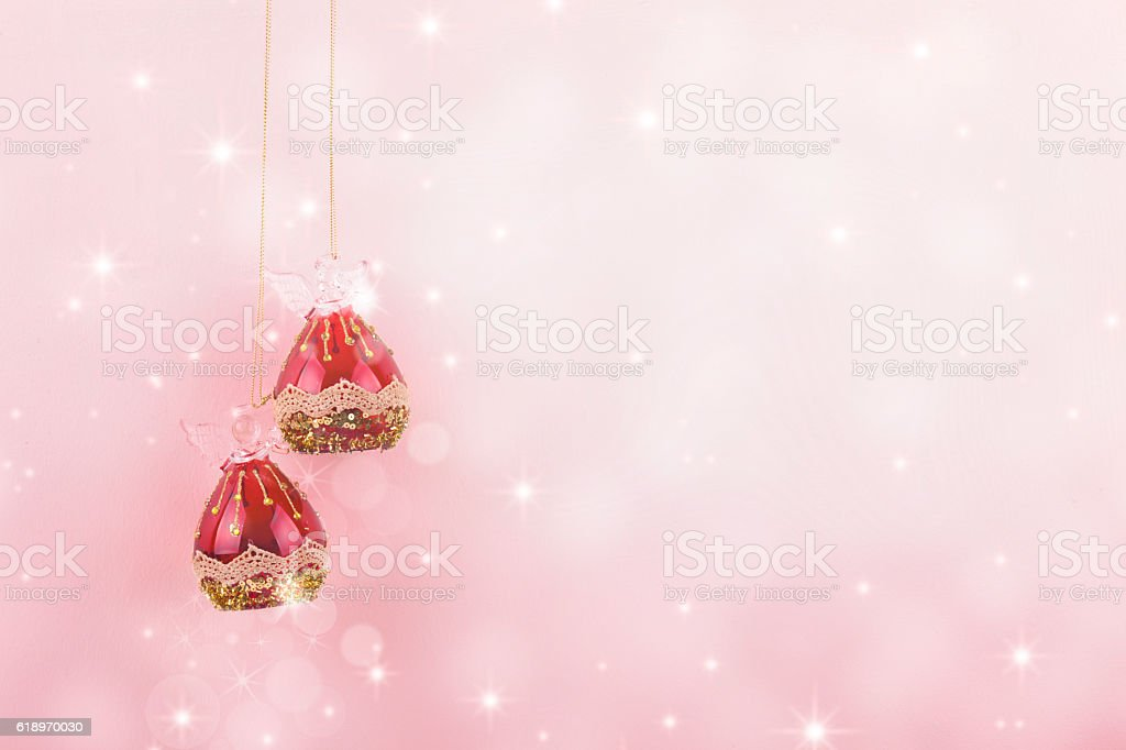 Background pink Christmas Balls stock photo