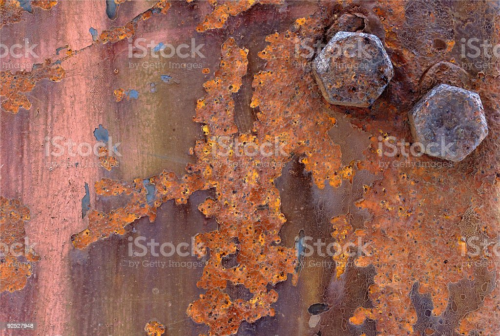 Background - Rusty iron with bolts stock photo